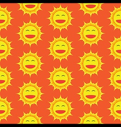 Happy Sun Cartoon Seamless Pattern vector image