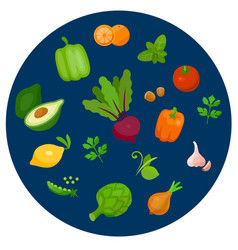 Health food icons in a flat style vector
