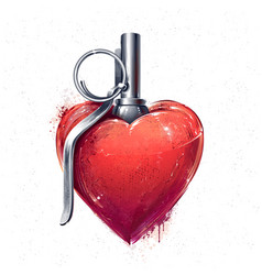 Heart grenade art vector