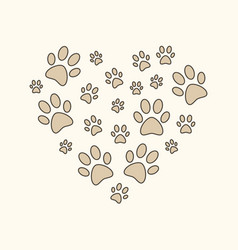 Heart with brown cat or dog paw prints vector
