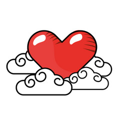 heart with clouds vector image
