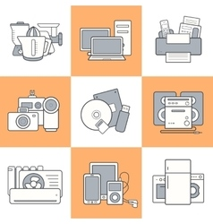 Home electronics icons set vector image