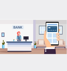 Human using banking mobile application specialist vector