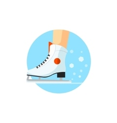 Ice-skating Round Sticker vector image