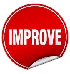 Improve round red sticker isolated on white vector
