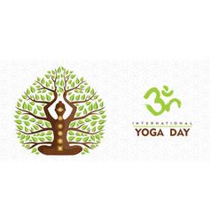 International yoga day tree woman banner vector