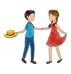 Isolated peasants couple dancing vector