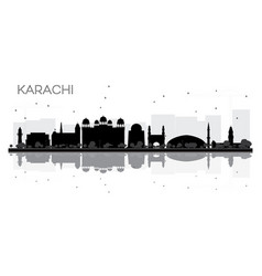 karachi city skyline black and white silhouette vector image