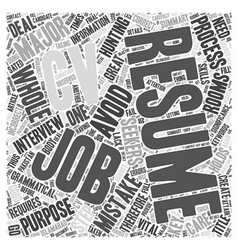 Key Resume Mistakes To Avoid Word Cloud Concept vector