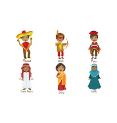 kids in traditional costumes set mexico usa vector image
