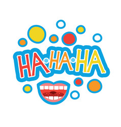Laugh sticker chat message label icon colorful vector