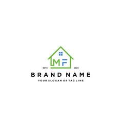 Letter mf home logo design vector