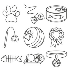 line art black and white 9 cat care elements vector image