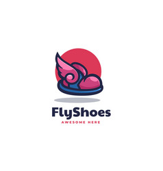 Logo fly shoes simple mascot style vector