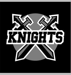 Logo knights swords cross black and white color vector