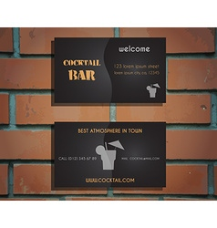 Lounge cocktail bar visiting card template vector