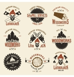 Lumberjack Colored Retro Style Emblems vector