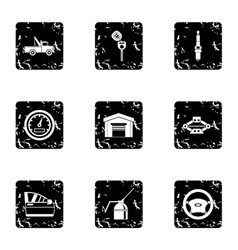 Maintenance car icons set grunge style vector