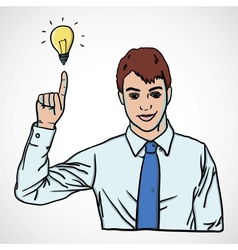 Man pointing up with lamp vector