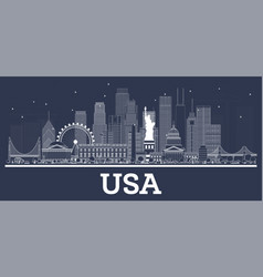 outline usa city skyline with white buildings vector image