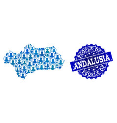 People collage of mosaic map of andalusia province vector