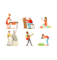 People creative professions and hobbies set vector