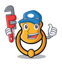 Plumber vintage door knocker on mascot cartoon vector