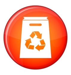 Recycle shopping bag icon flat style vector