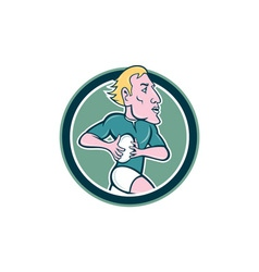 Rugby Player Running Ball Circle Cartoon vector image