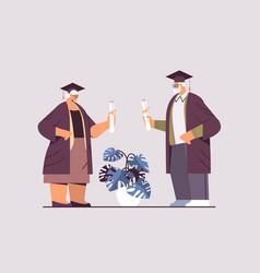 senior graduated students aged man woman graduates vector image