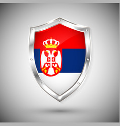 serbia flag on metal shiny shield collection vector image