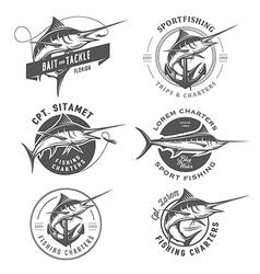 set marlin fishing emblems and design elements vector image