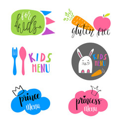 set of kids menu logos for cafe or restaurant vector image
