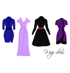Set of wrap dresses vector