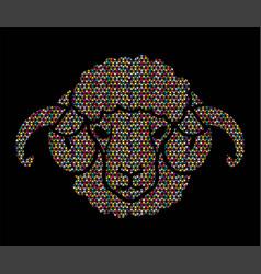 sheep or lamb head with big horn cartoon graphic vector image