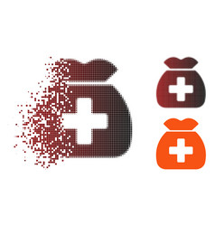 Shredded pixel halftone medical capital fund icon vector