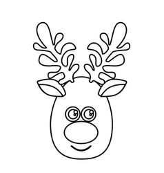silhouette cartoon cute face reindeer animal vector image vector image