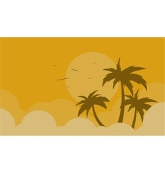 Silhouette of palm and bird landscape vector