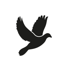 Simple flying dove side silhouette icon style vector image
