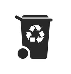 Simple wheelie bin recycle silhouette symbol vector