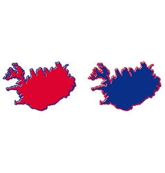 simplified map of iceland outline fill and stroke vector image