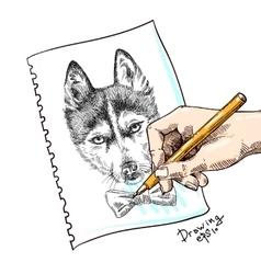 Sketch husky vector