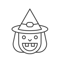 smile old witch and witch hat icon halloween vector image