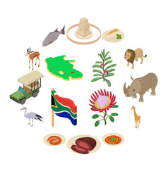 South africa travel icons set isometric style vector