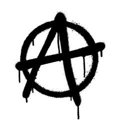 Sprayed anarchy symbol with overspray in black vector