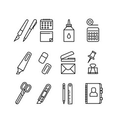 stationery and office equipment thin line vector image vector image