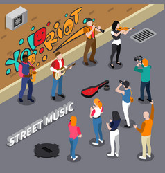 Street musicians isometric vector