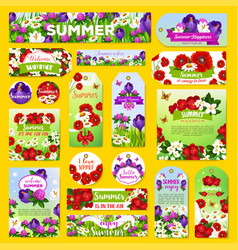 summer flowers greeting tags or banners set vector image
