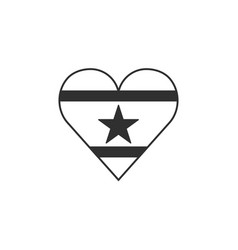 suriname flag icon in a heart shape in black vector image