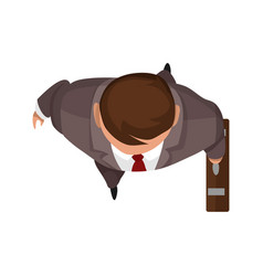 Top view people businnesman with bag on white vector